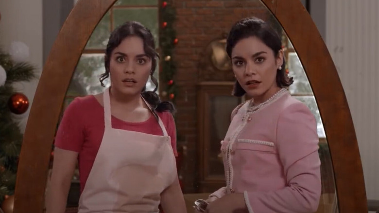 Vanessa Hudgens in The Princess Switch, looking in a mirror