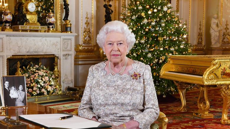 Queen Elizabeth giving Christmas message