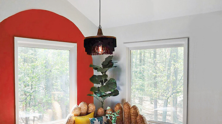 Red painted wall arch