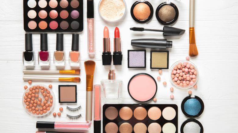 Makeup collection on table