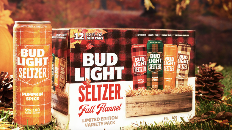 Bud Light's Fall Flannel Seltzers, which include Toasted Marshmallow, Maple Pear, Apple Crisp, and Pumpkin Spice