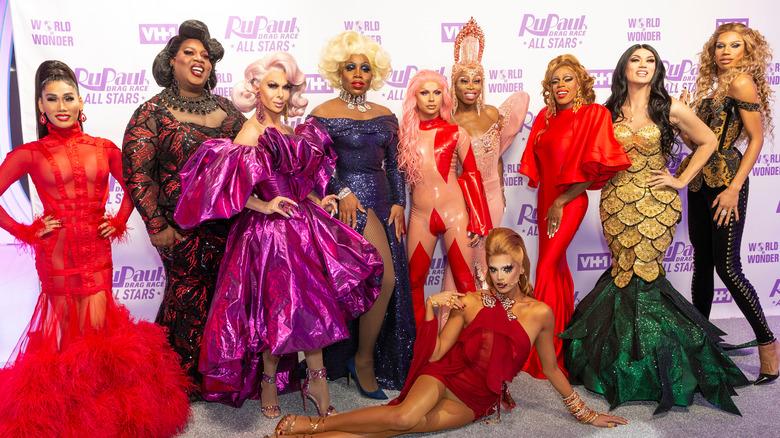 "Cast of ""RuPaul's Drag Race"" on red carpet"