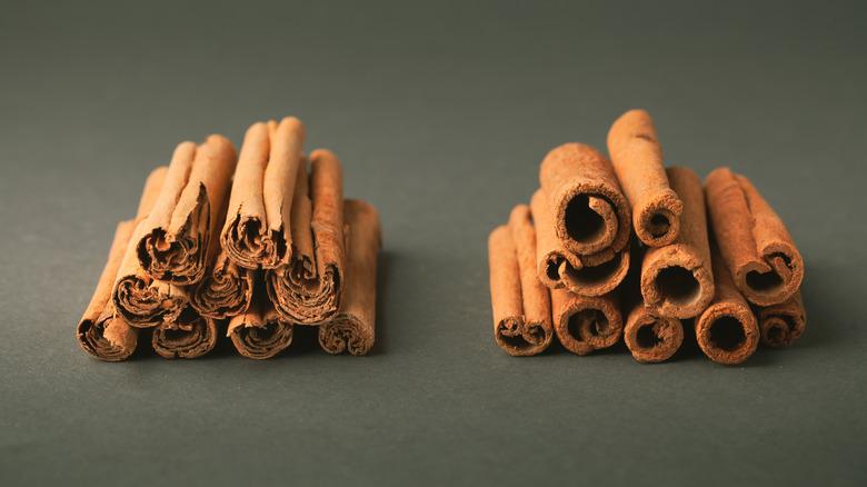 Cinnamon stick piles