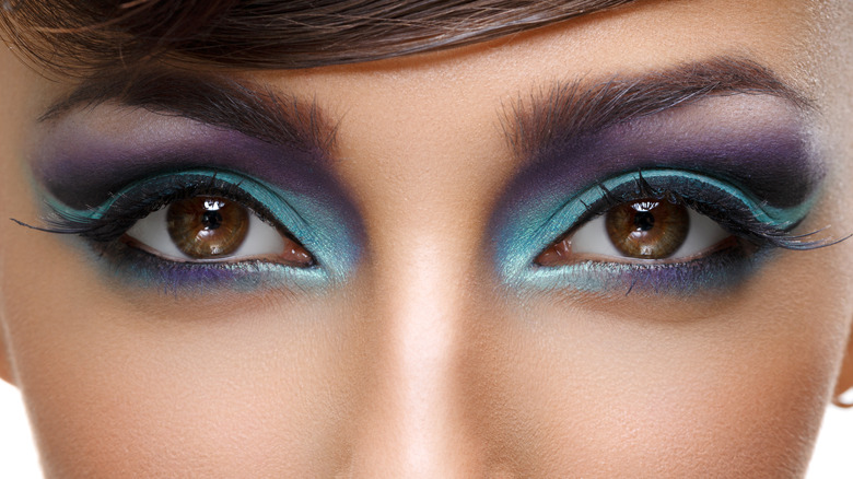 Close-up on woman's eyes with makeup