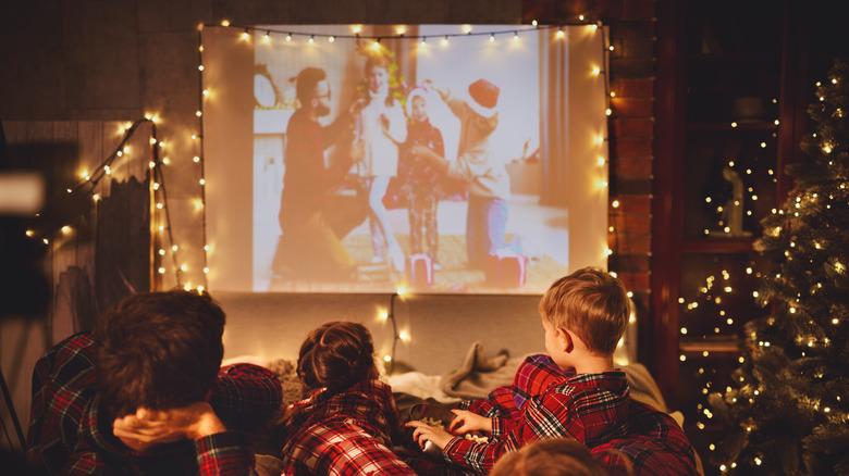 Kids watching movies at home