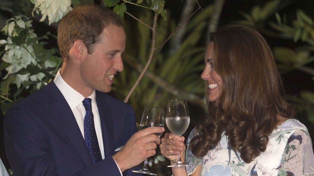 Kate Middleton and Prince William, Duke of Cambridge drinking