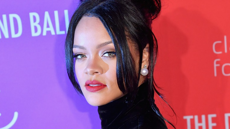 Rihanna with styled hair in 2019