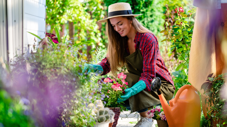 Woman working in flower bed