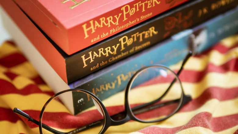 Harry Potter books and glasses