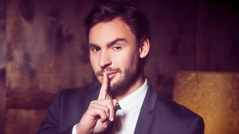 Man keeping a secret