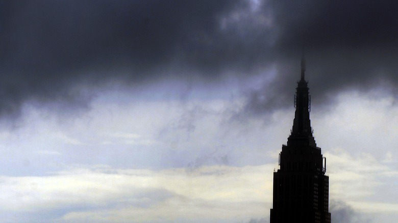 Empire State Building against a hurricane backdrop