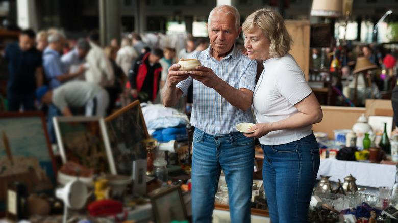 Couple shopping at flea market