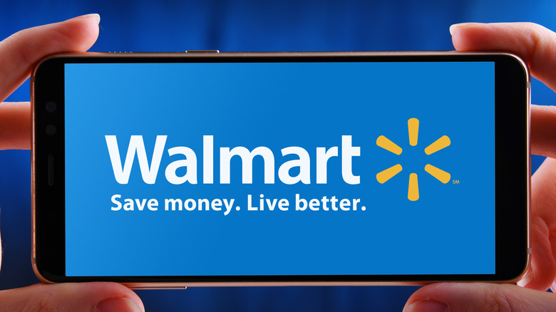 Walmart logo in phone