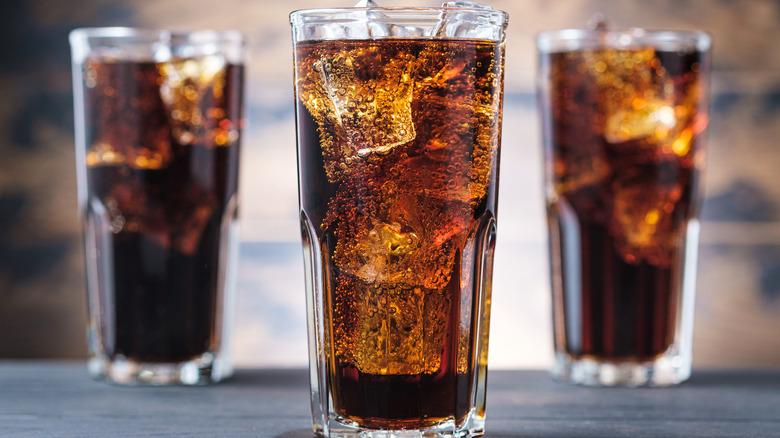 Three glasses of cola