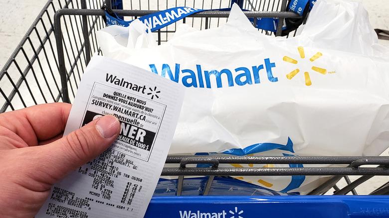 Walmart shopping cart and reciept