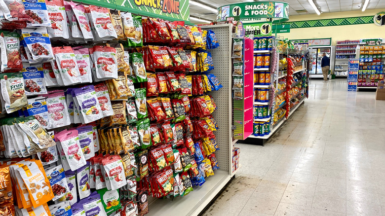 snack aisle at dollar store