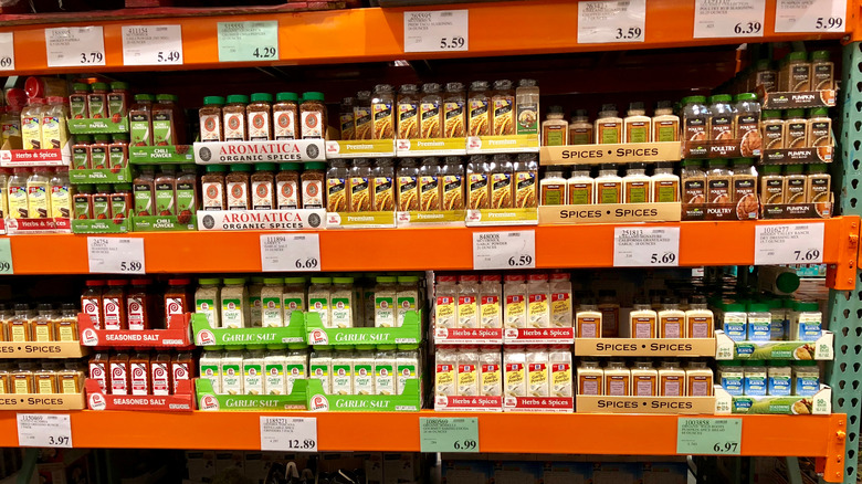 Shelves of seasoning at Costco.