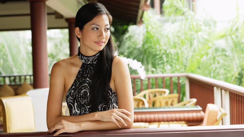 woman wearing halter top