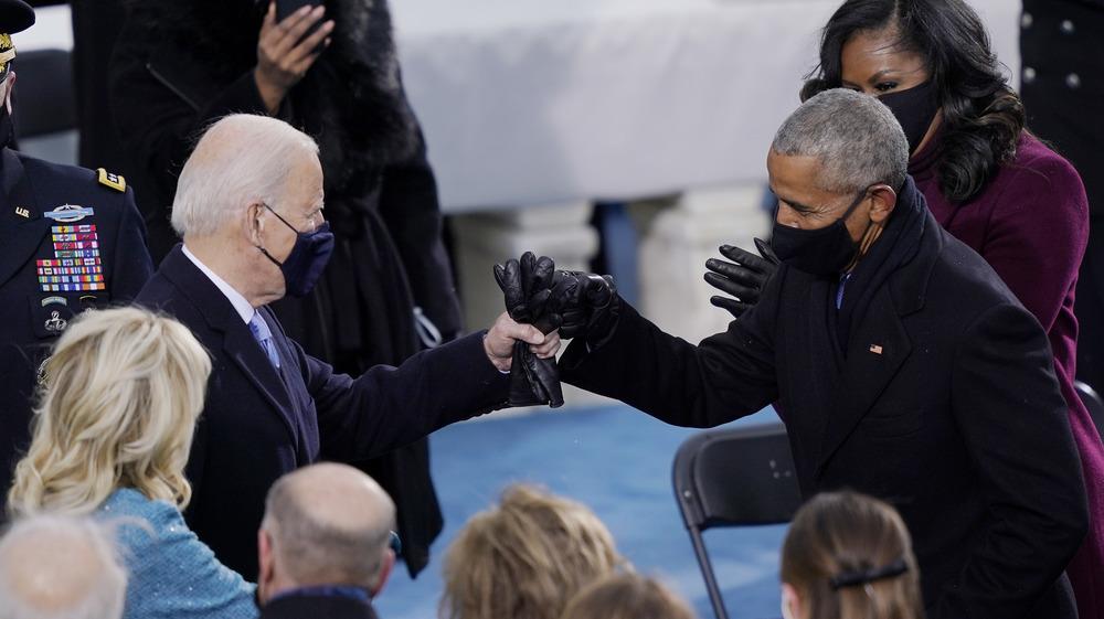 Barack Obama and Joe Biden inaugural fist bump