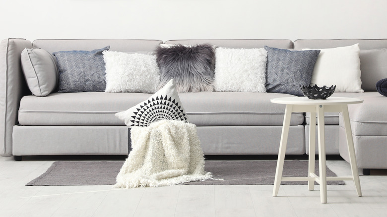 Grey couch in a living room