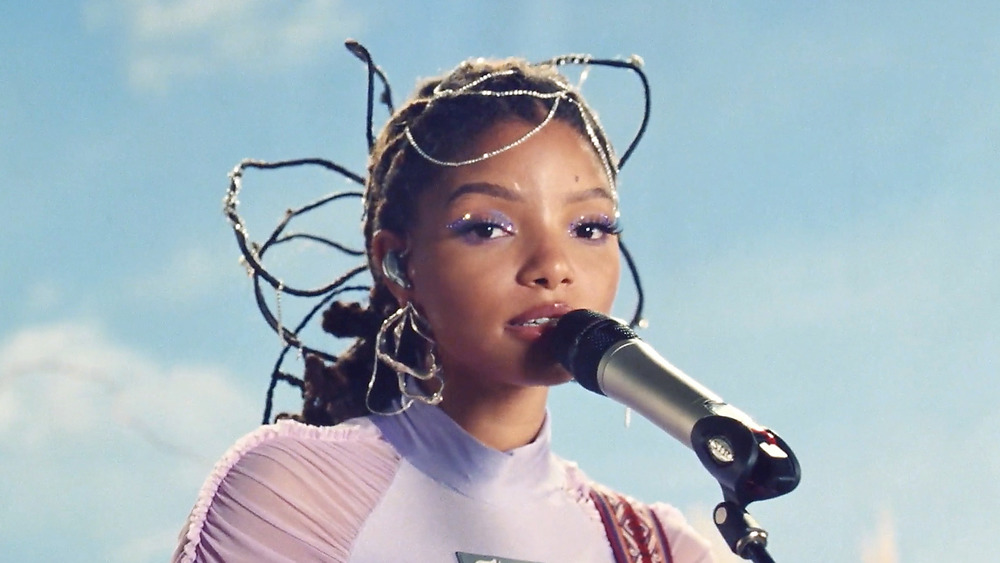 Halle Bailey performing at Billboard music event