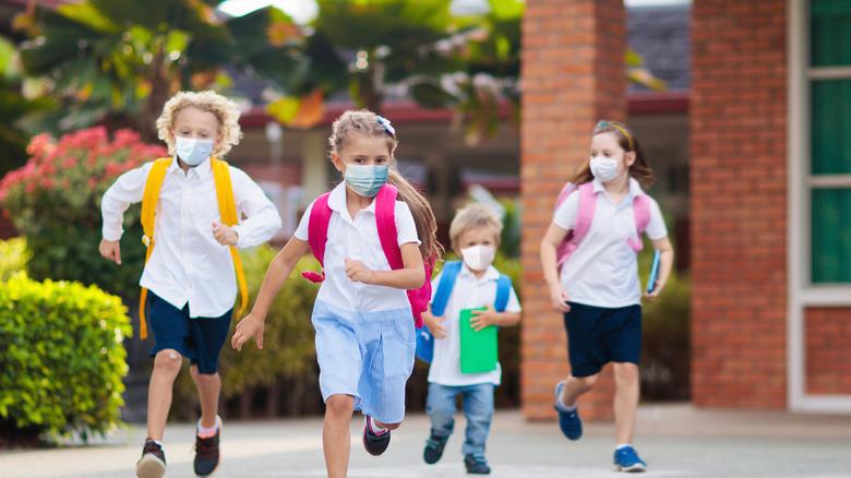School children in masks