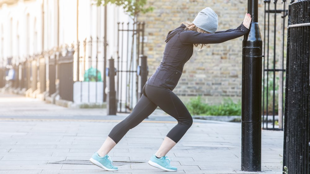 warming up before a run