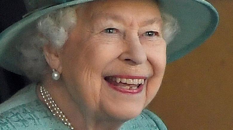 Queen Elizabeth blue hat Trooping the Colour
