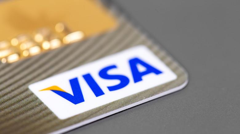 Visa logo on card close-up