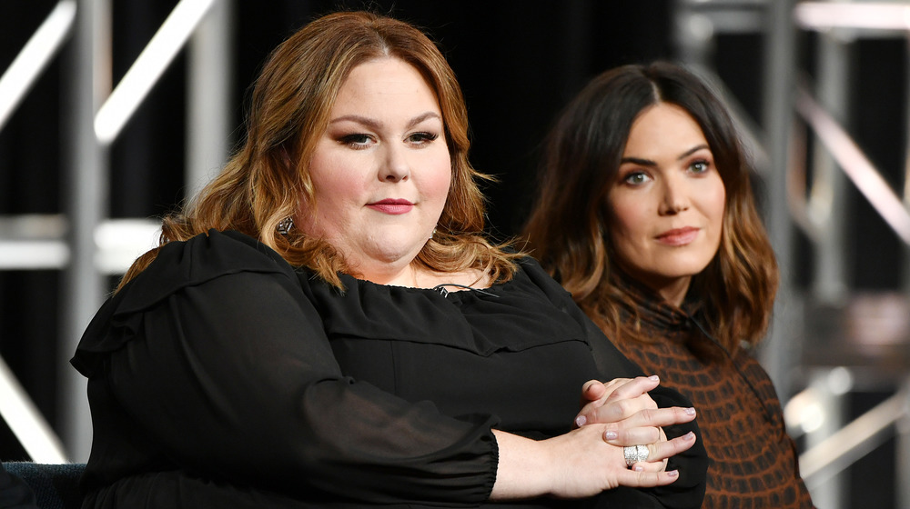 Chrissy Metz and Mandy Moore sit together