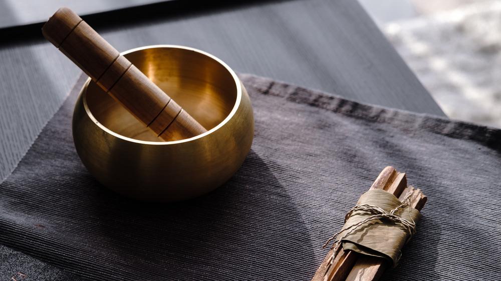 Meditation bowl on a table