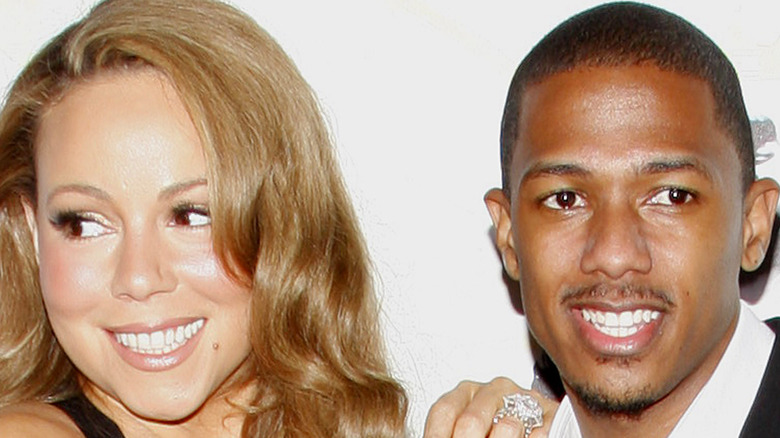 Mariah Carey and Nick Cannon pose on the red carpet together