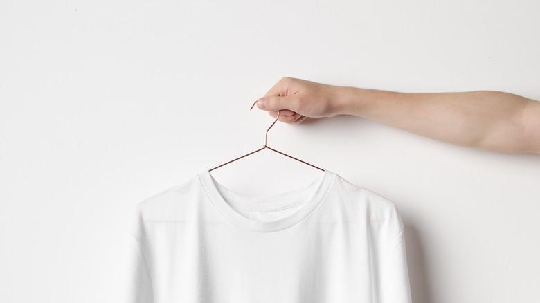 t-shirt on a hanger