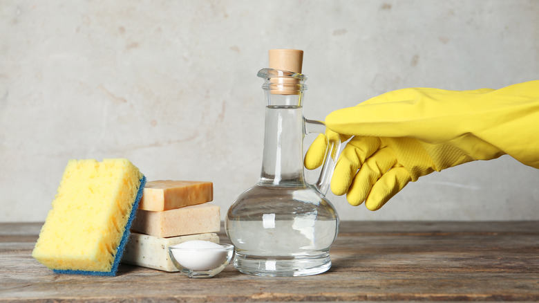 Jug of vinegar and cleaning supplies