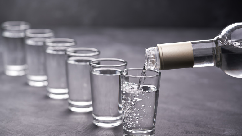 vodka being poured into shot glasses
