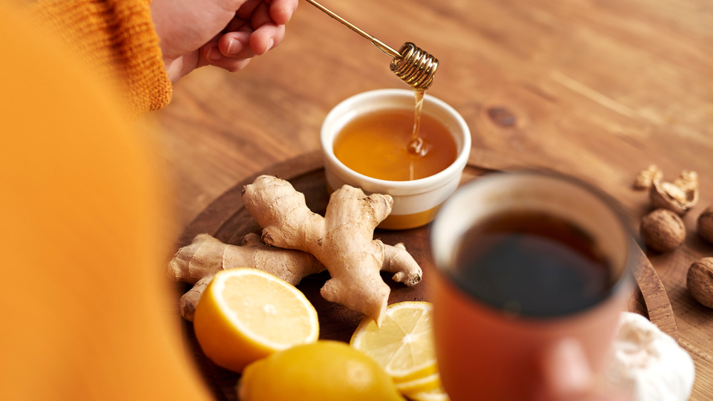 Ginger and ginger tea with lemon and honey