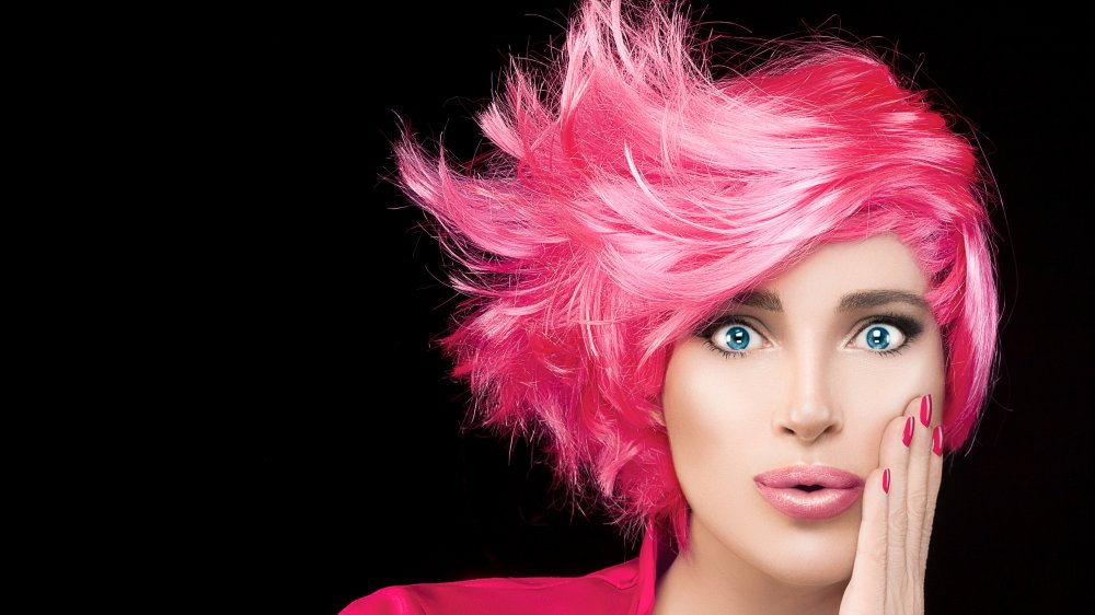 Model with dyed pink hair