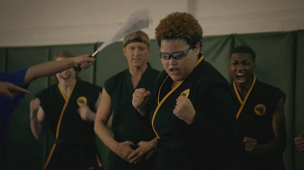 Aisha Robinson competing in karate tournament