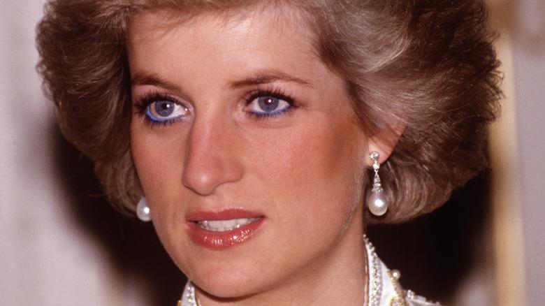 Princess Diana with blue eyeliner