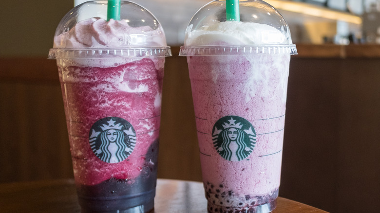 Pair of pink Starbucks Frappuccinos