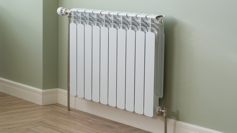 White radiator in an apartment