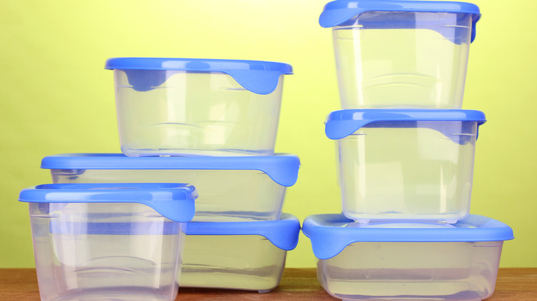 Clean Tupperware pieces stacked