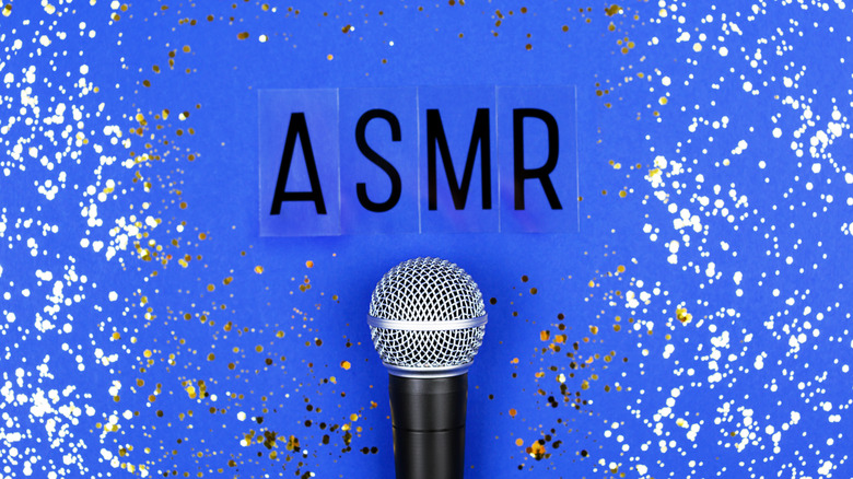 ASMR and a microphone on blue background