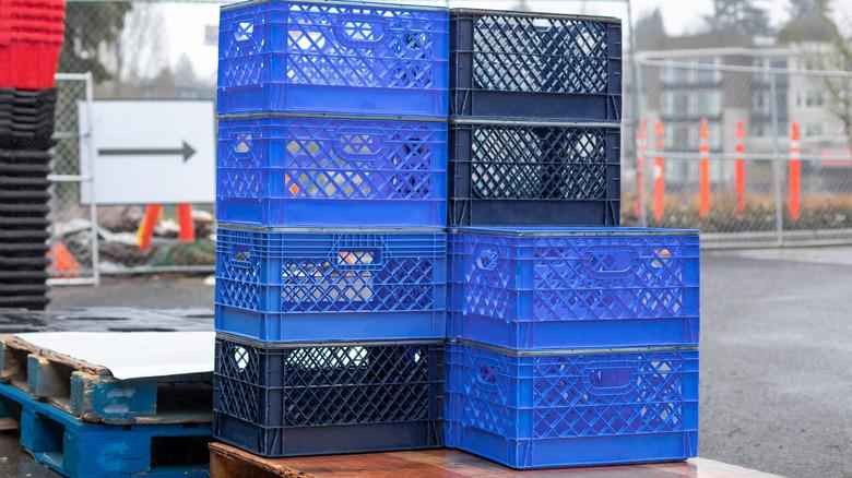 Stack of empty milk crates