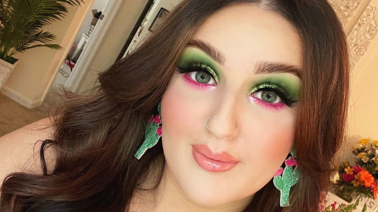 Mikayla Nogueira showing off her makeup look