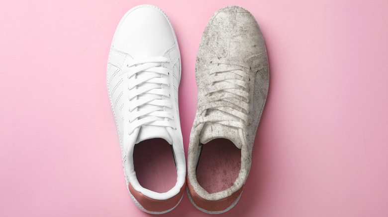 white sneakers before and after, one dirty, one clean