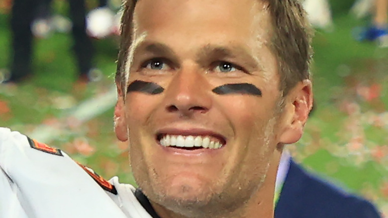 Tom Brady smiles after winning the Super Bowl for the Tampa Bay Buccaneers.