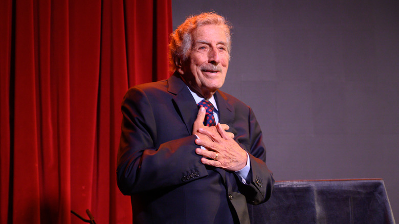 Tony Bennett with hands at his heart