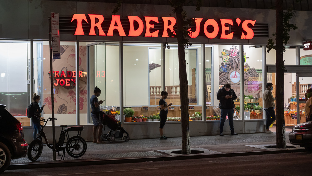 Customers standing in front of Trader Joe's
