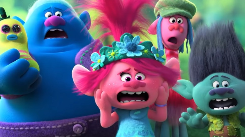 Poppy, Branch, and other characters from Trolls World Tour
